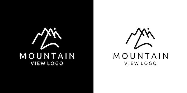 Logotipo de design de cenário de montanha em linha