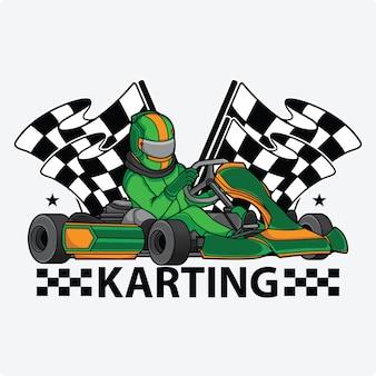 Logotipo de design de corrida de kart
