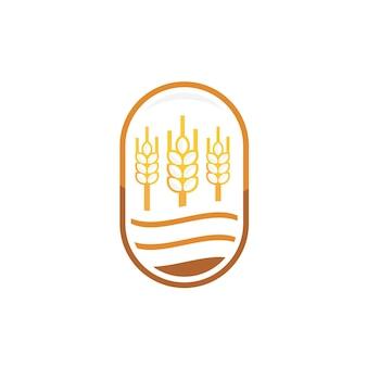 Logotipo de design de etiqueta de trigo para pão
