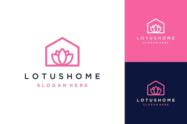 Logotipo de design de floricultura ou casa com flores de lótus