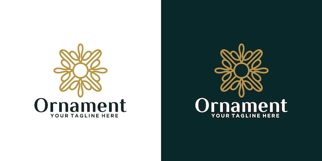 Logotipo de design de ornamento floral luxuoso e inspiração de cartão de visita