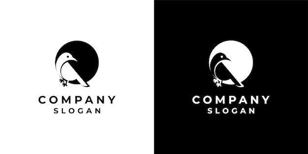 Logotipo de design de pássaro em estilo espaço negativo