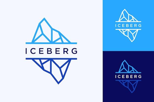 Logotipo de design natural ou iceberg com arte de linha