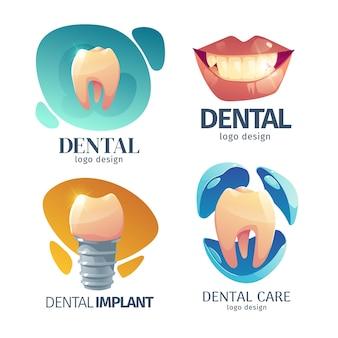 Logotipo de design plano de atendimento odontológico