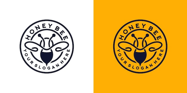 Logotipo de design vintage do honey beetle