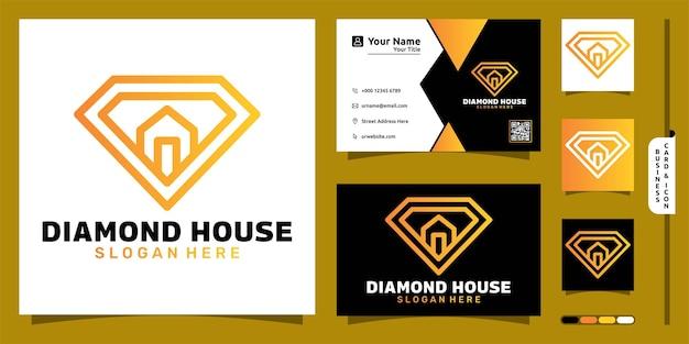 Logotipo de diamante com conceito moderno de casa e design de cartão de visita