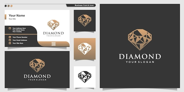 Logotipo de diamante com estilo abstrato de luxo e modelo de design de cartão de visita premium vector
