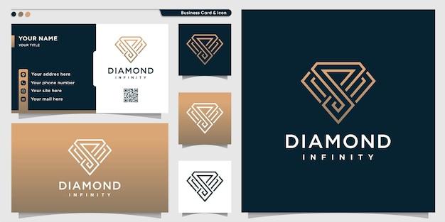 Logotipo de diamante com estilo de arte de linha infinita dourada e cartão de visita