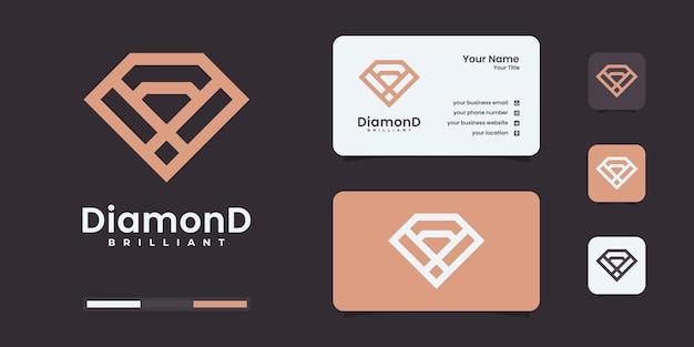 Logotipo de diamante com estilo de arte de linha infinita dourada. logotipo brilhante ser usado para o seu negócio.