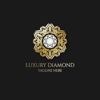 Logotipo de diamante com ornamento dourado elegante