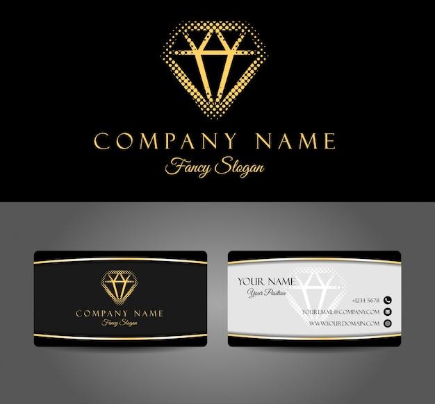 Logotipo de diamante e cartão de visita elegante