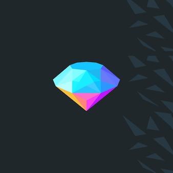 Logotipo de diamante geométrico baixo poli