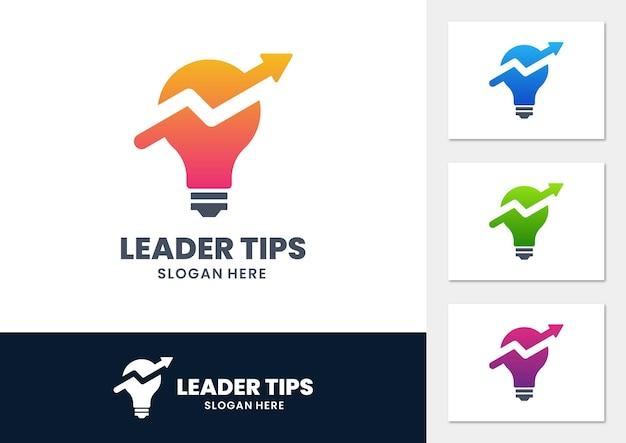 Logotipo de dicas de líderes com lâmpada