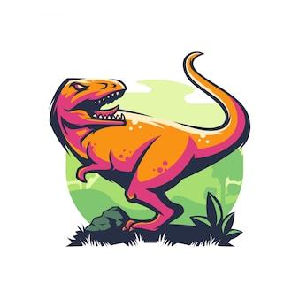 Logotipo de dinossauro com raiva