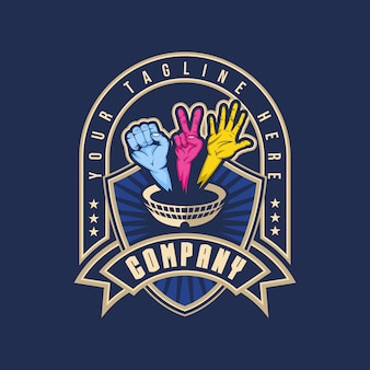 Logotipo de distintivo de arena de batalha de mão
