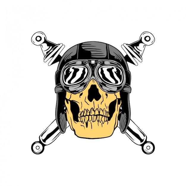 Logotipo de distintivo de crânio de moto vintage
