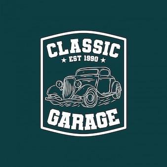 Logotipo de distintivo de garagem de carro clássico