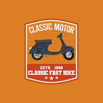 Logotipo de distintivo de garagem de moto clássica