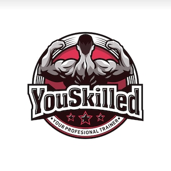 Logotipo de distintivo de músculo de ginásio de fitness profissional