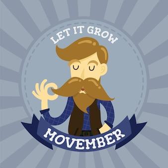 Logotipo de distintivo de personagem de desenho animado bonito cavalheiro hipster