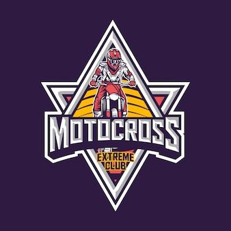 Logotipo de distintivo vintage premium de clube extremo de motocross