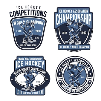 Logotipo de distintivos de hóquei no gelo