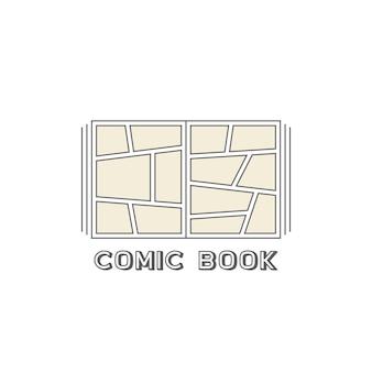 Logotipo de elementos lineares de quadrinhos simples. conceito de tag de mensagem, engraçado, super-humano, publicidade, tpb, espaço vazio, história de super-herói. estilo plano tendência logotipo moderno design gráfico em fundo branco