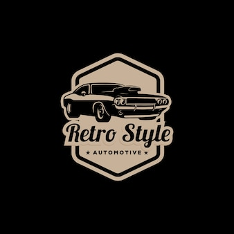 Logotipo de emblema automotivo de estilo retro