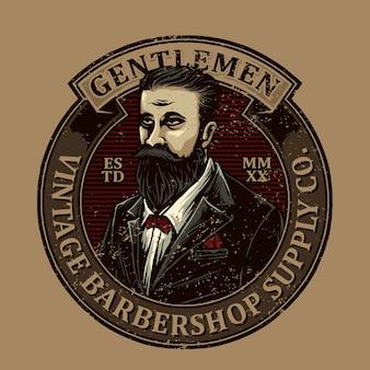 Logotipo de emblema de barbearia vintage