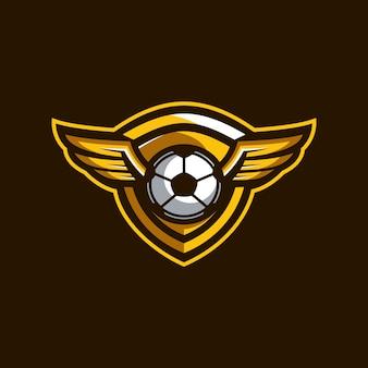 Logotipo de emblema de futebol de asa