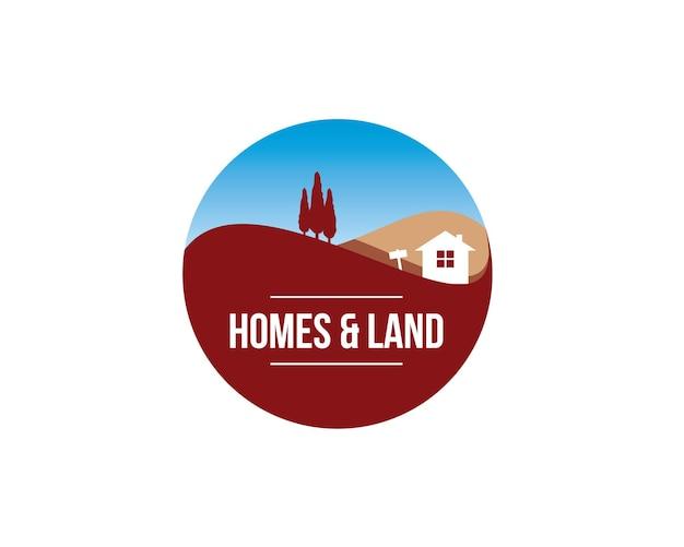 Logotipo de emblema esférico redondo de casas e terrenos com ilustração de uma colina de pinheiros