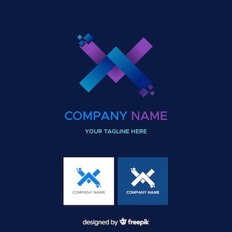 Logotipo de empresa de tecnologia abstrata gradiente