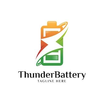 Logotipo de energia da bateria e trovão relâmpago