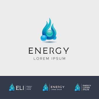 Logotipo de energia de fogo azul com a molécula