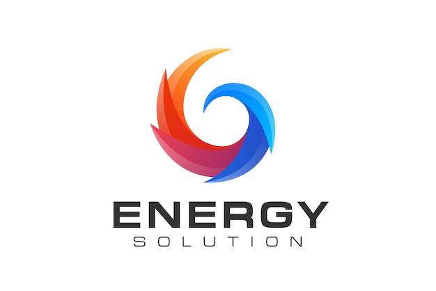 Logotipo de energia solar e energia renovável de círculo abstrato