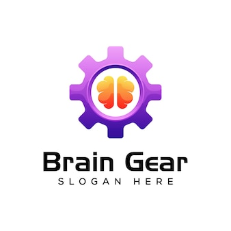 Logotipo de engrenagem do cérebro, brainstorming design de logotipo gradiente