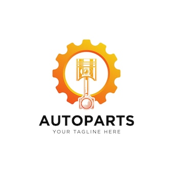 Logotipo de engrenagens e pistões, peças automotivas