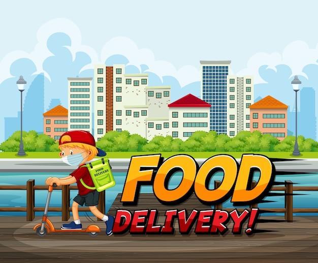 Logotipo de entrega de comida com correio andando em scooter na cidade