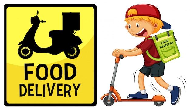 Logotipo de entrega de comida com entregador ou mensageiro andando de scooter