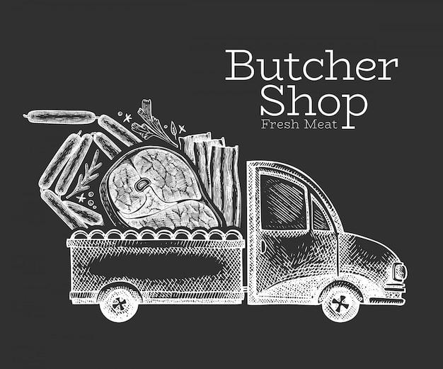 Logotipo de entrega de loja de açougue. caminhão desenhado de mão com ilustração de carne. design de comida retrô estilo gravado.