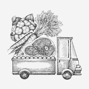 Logotipo de entrega de loja de comida. caminhão desenhado de mão com legumes e ilustração de carne. design de comida retrô estilo gravado.