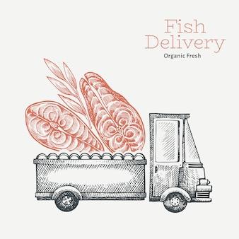 Logotipo de entrega de loja de peixe. caminhão desenhado de mão com ilustração de peixe. projeto de comida vintage estilo gravado.