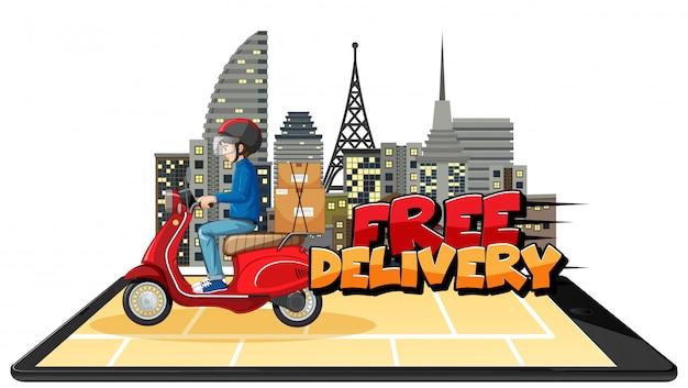 Logotipo de entrega gratuita com homem da bicicleta ou mensageiro