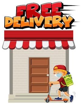 Logotipo de entrega gratuita com mensageiro andando em scooter