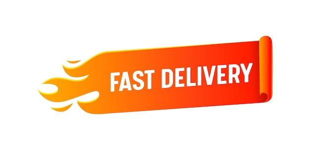 Logotipo de entrega rápida com bandeira vermelha em chamas, isolada no fundo branco. emblema de empresa de logística em estilo mínimo, serviço de frete e remessa de mercadorias, transporte de encomendas. ilustração vetorial