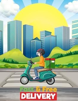 Logotipo de entrega rápida e grátis com homem de bicicleta ou mensageiro andando na cidade