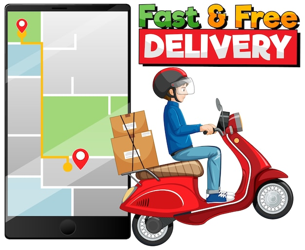 Logotipo de entrega rápida e grátis com homem de bicicleta ou mensageiro