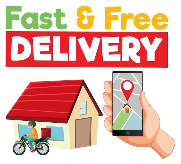 Logotipo de entrega rápida e grátis com smartphone