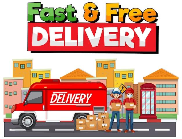 Logotipo de entrega rápida e grátis com van ou caminhão de entrega