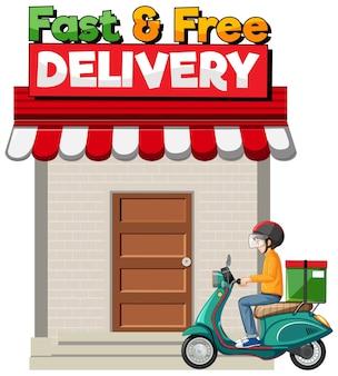 Logotipo de entrega rápida e grátis